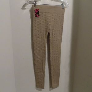 SOFRA Tan Textured Leggings, 1 Size NWT